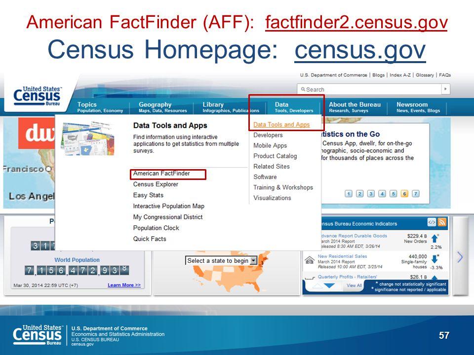 57 American FactFinder (AFF): factfinder2.census.gov Census Homepage: census.gov