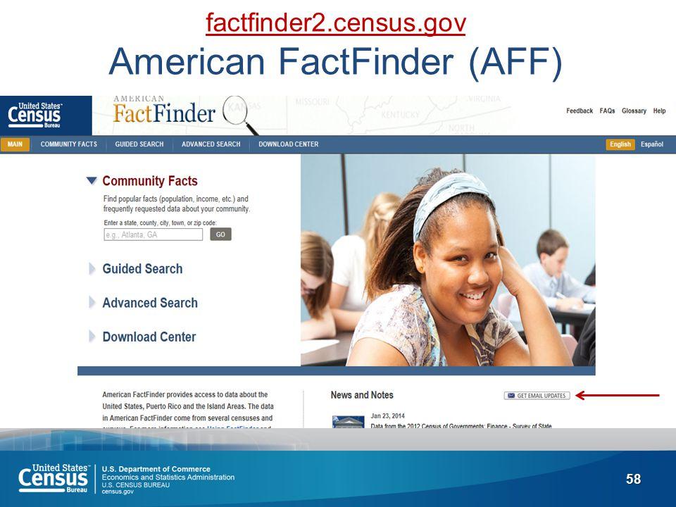 58 factfinder2.census.gov American FactFinder (AFF)