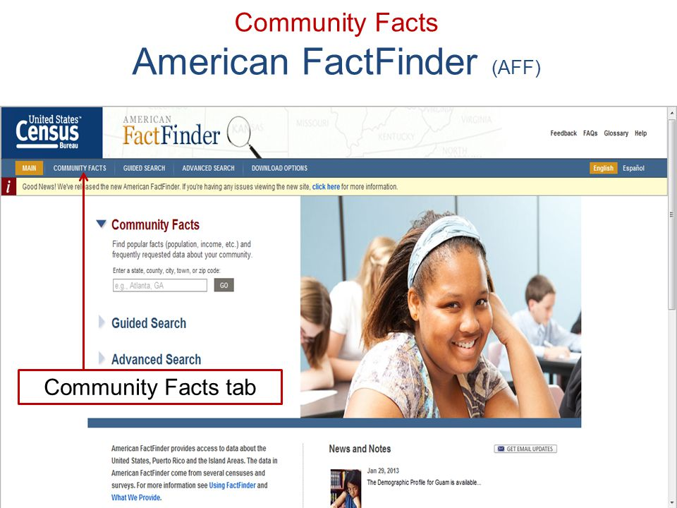 61 Community Facts American FactFinder (AFF) Community Facts tab
