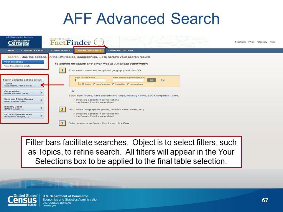67 AFF Advanced Search Filter bars facilitate searches.