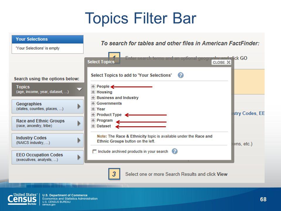 68 Topics Filter Bar
