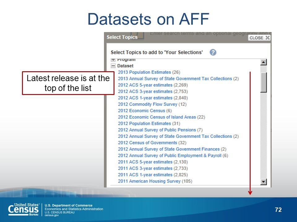 72 Datasets on AFF Latest release is at the top of the list