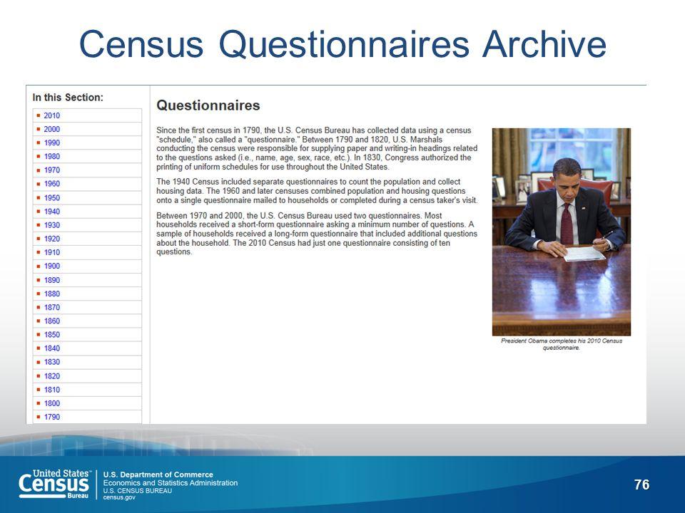 76 Census Questionnaires Archive