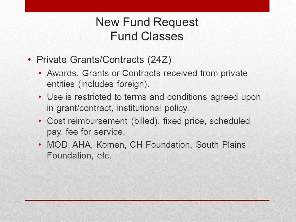 New Fund Request Fund Classes Private Grants/Contracts (24Z) Awards, Grants or Contracts received from private entities (includes foreign).