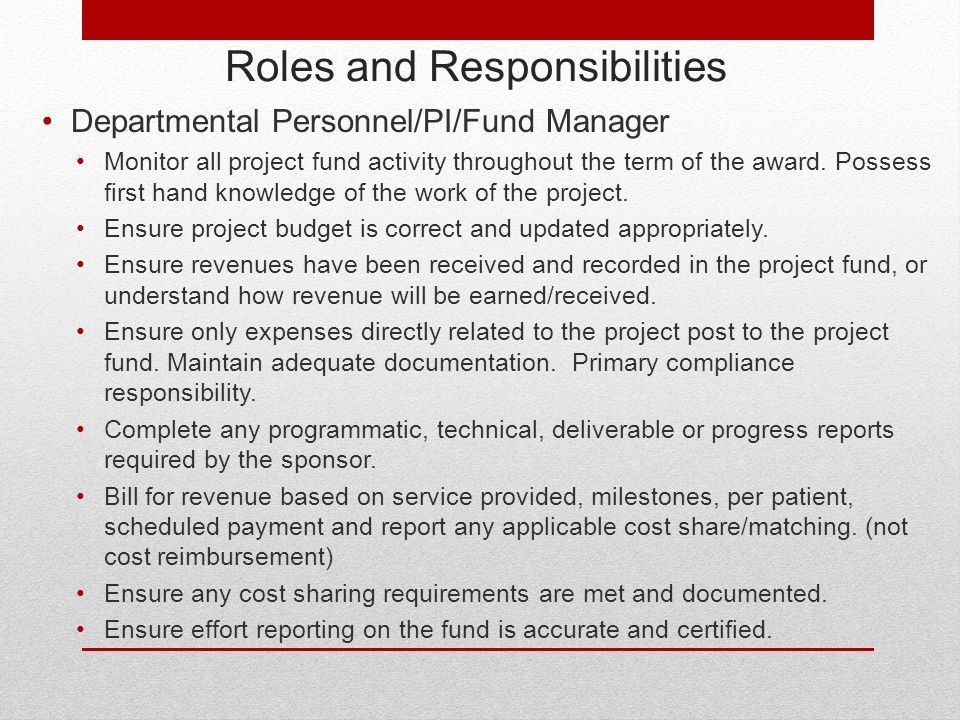 Roles and Responsibilities Departmental Personnel/PI/Fund Manager Monitor all project fund activity throughout the term of the award.