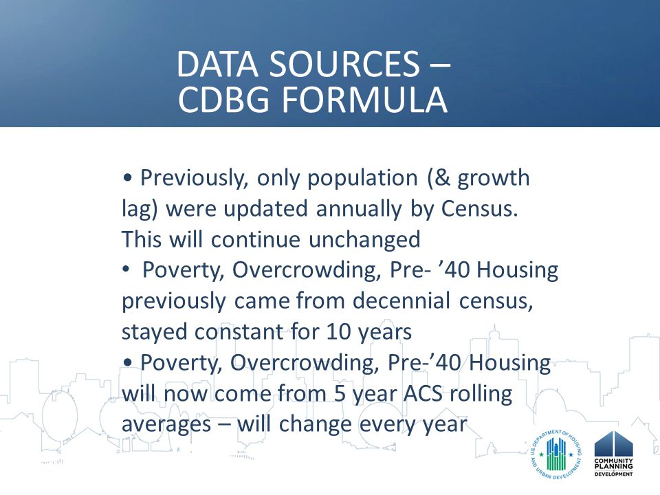 DATA SOURCES – CDBG FORMULA Previously, only population (& growth lag) were updated annually by Census.