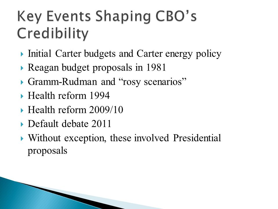  Initial Carter budgets and Carter energy policy  Reagan budget proposals in 1981  Gramm-Rudman and rosy scenarios  Health reform 1994  Health reform 2009/10  Default debate 2011  Without exception, these involved Presidential proposals