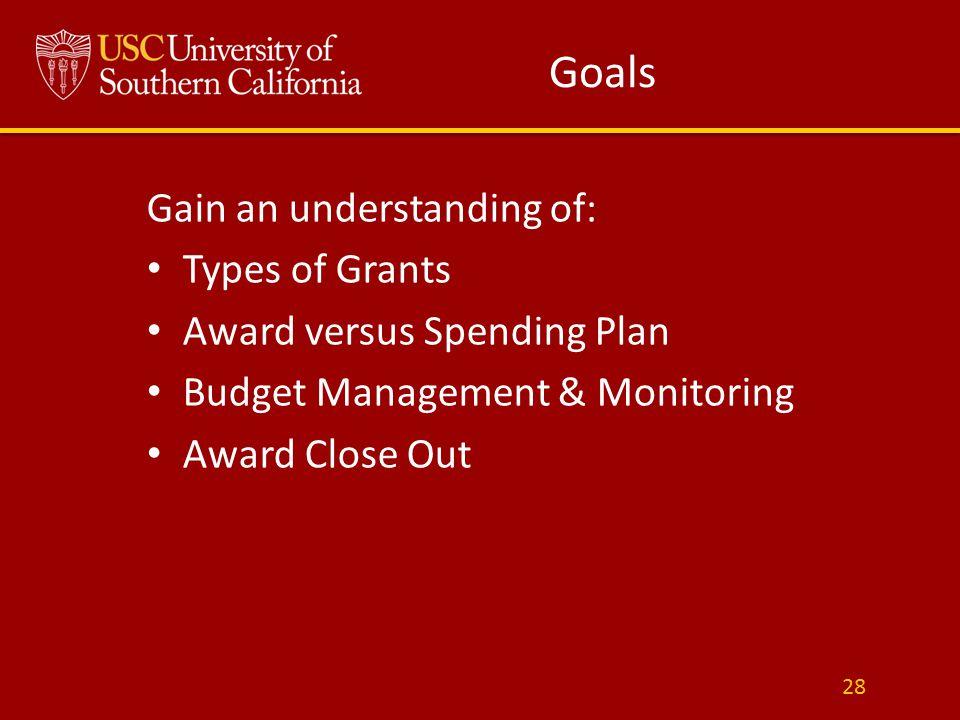 Gain an understanding of: Types of Grants Award versus Spending Plan Budget Management & Monitoring Award Close Out 28 Goals