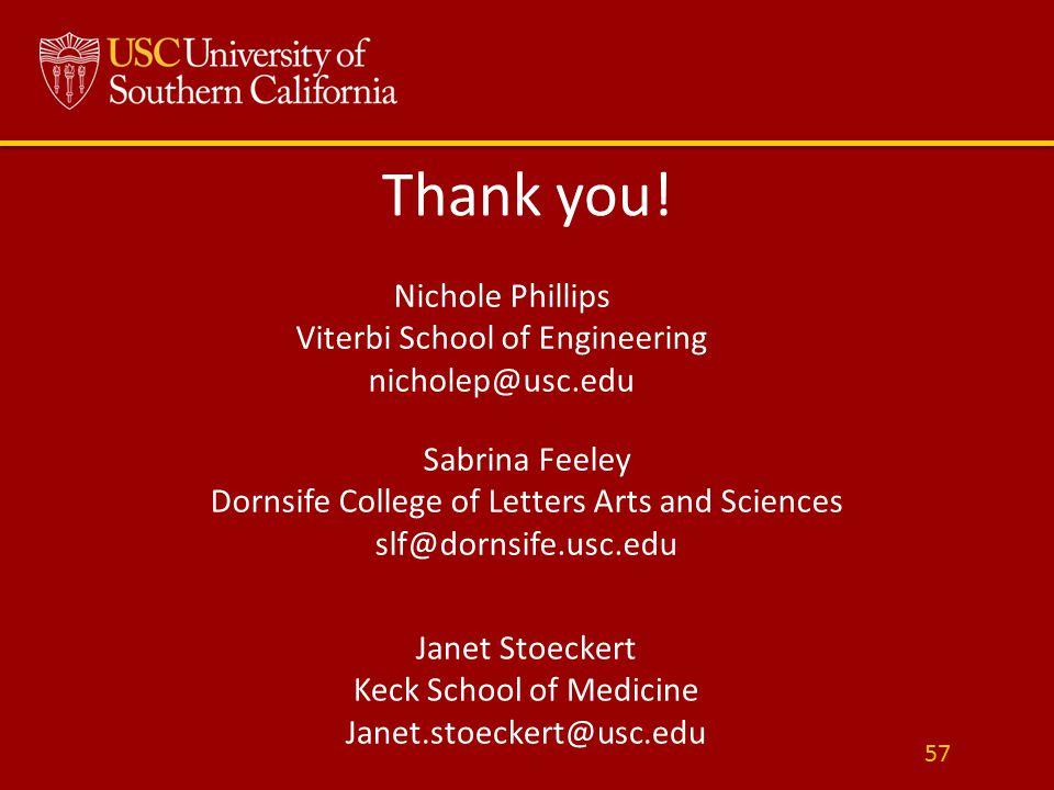 Thank you! 57 Nichole Phillips Viterbi School of Engineering nicholep@usc.edu Sabrina Feeley Dornsife College of Letters Arts and Sciences slf@dornsif