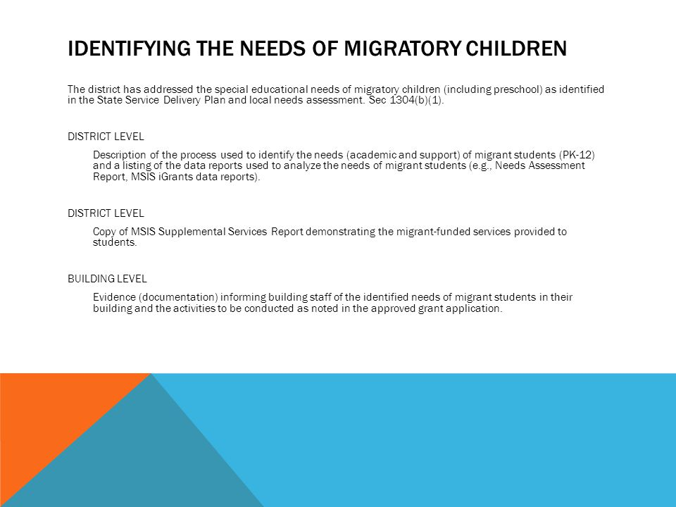 IDENTIFYING THE NEEDS OF MIGRATORY CHILDREN The district has addressed the special educational needs of migratory children (including preschool) as identified in the State Service Delivery Plan and local needs assessment.