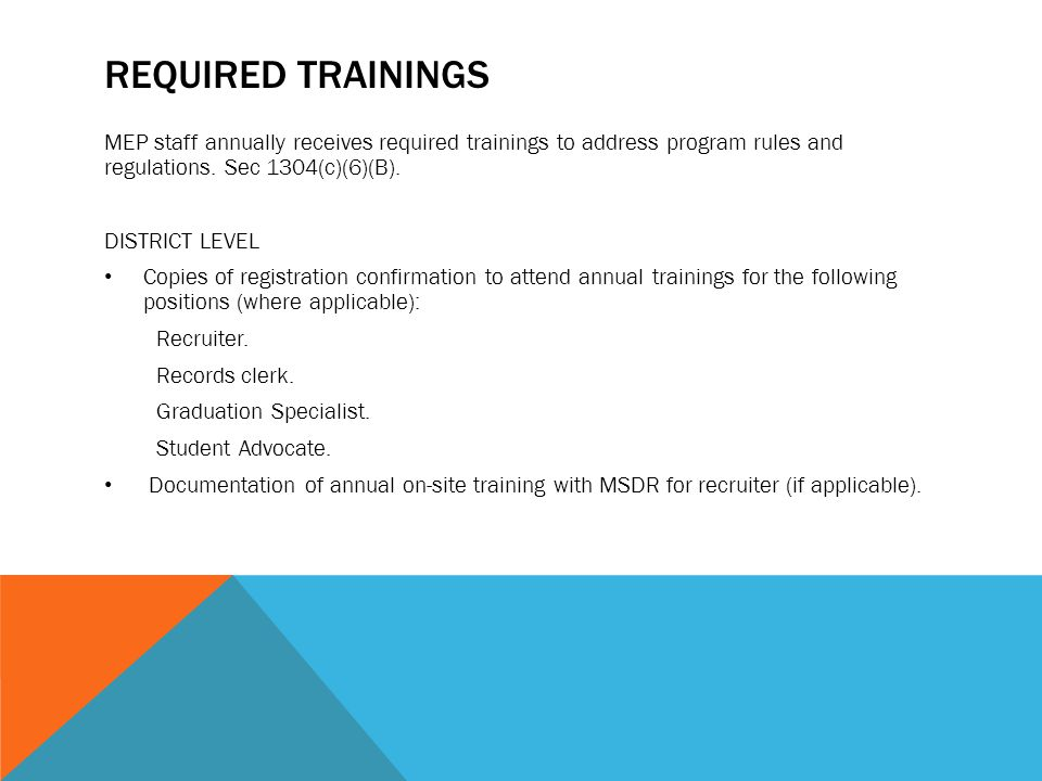 RECRUITMENT PLAN AND ACTIVITIES The Migrant Education Program district recruiter is allotted sufficient time and flexibility to conduct identification and recruitment activities throughout the district boundaries.