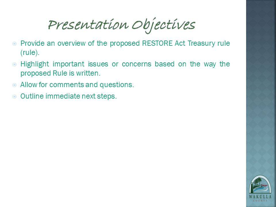 PROPOSED U.S. TREASURY RULES October 7,2013 Sheree T. Keeler, Intergovernmental Affairs Director