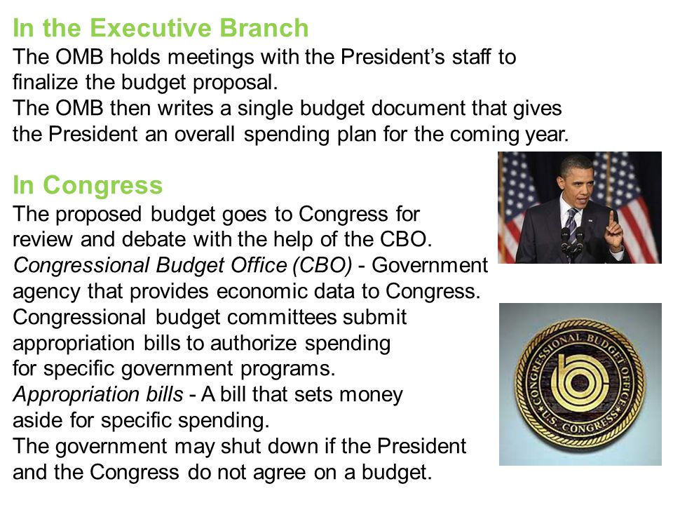 In the Executive Branch The OMB holds meetings with the President's staff to finalize the budget proposal. The OMB then writes a single budget documen