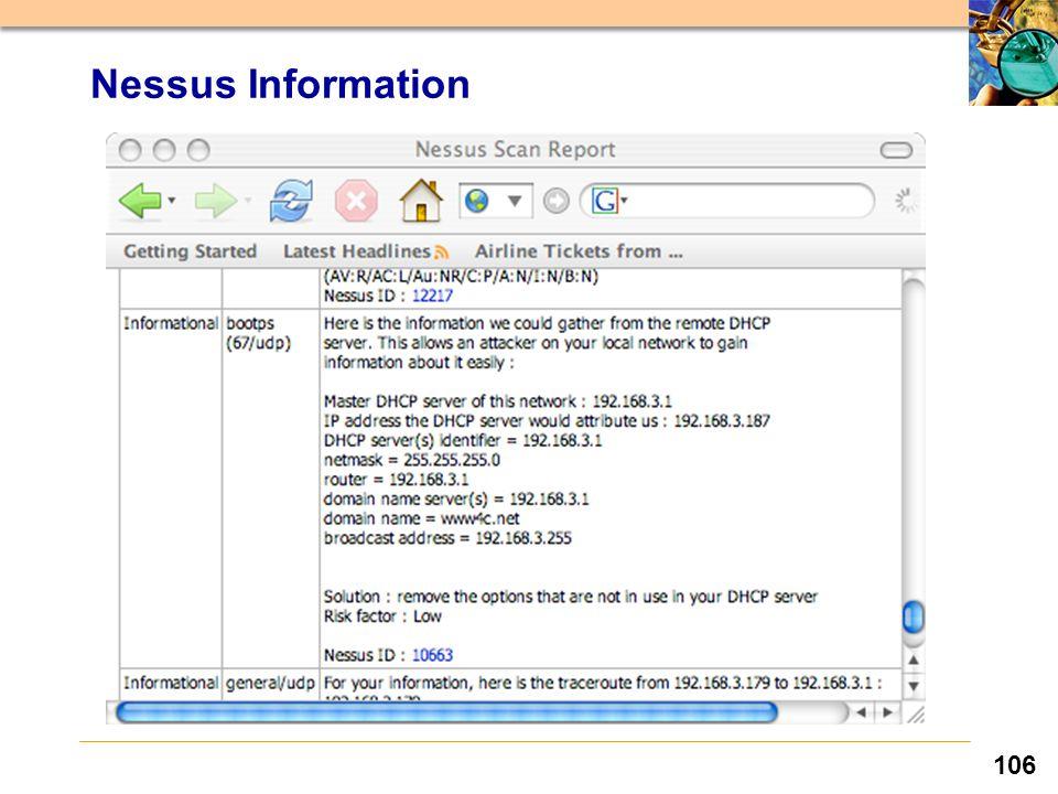 106 Nessus Information