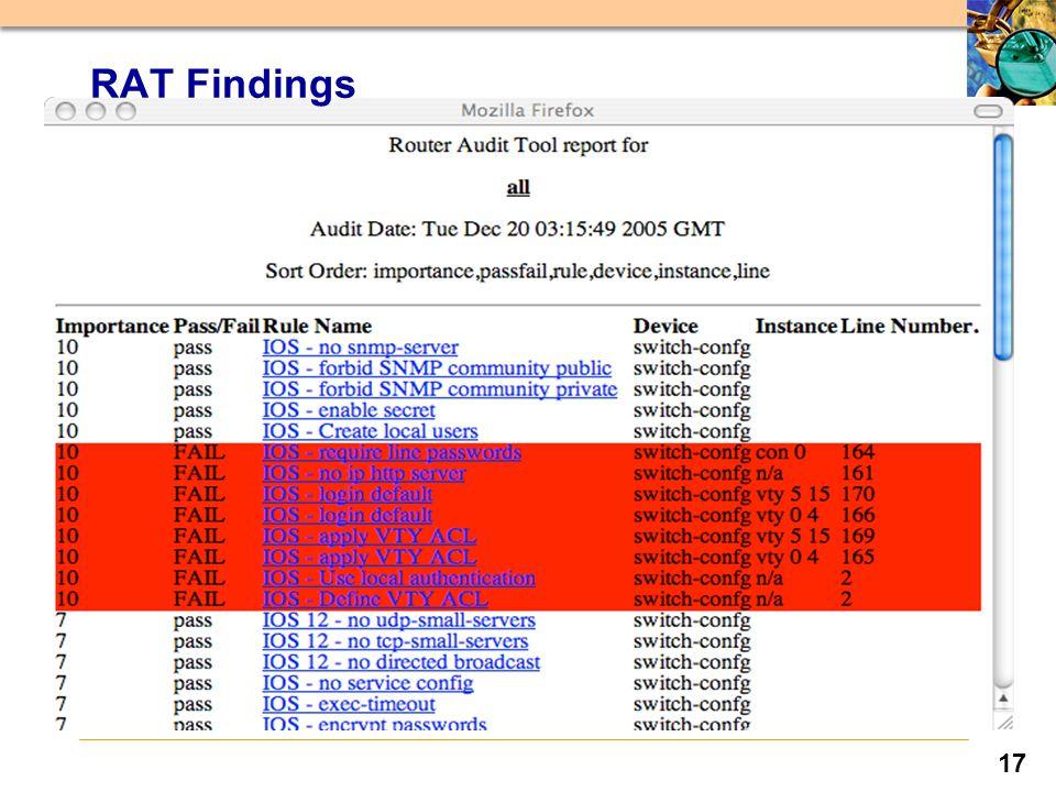 17 RAT Findings
