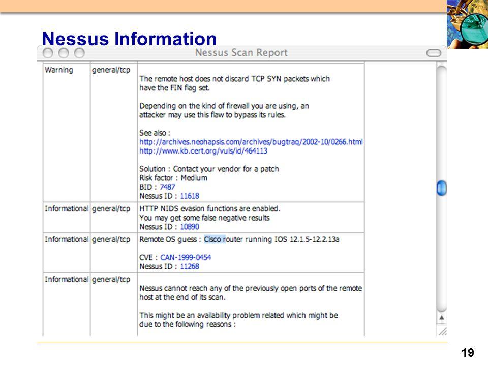 19 Nessus Information
