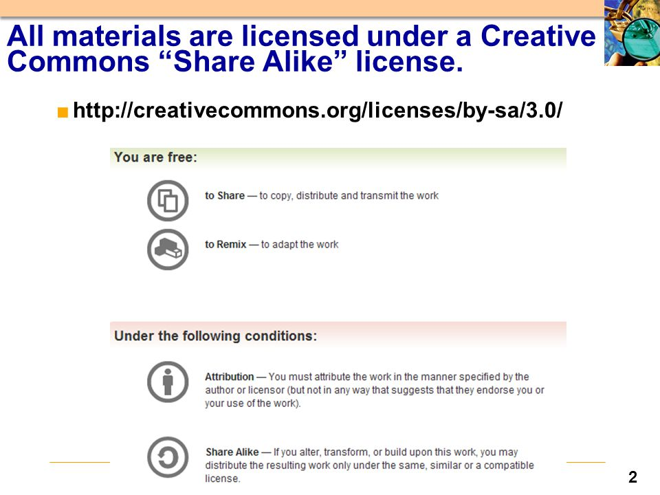 2 All materials are licensed under a Creative Commons Share Alike license.