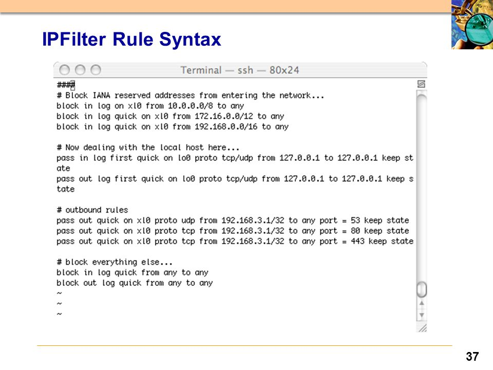 37 IPFilter Rule Syntax