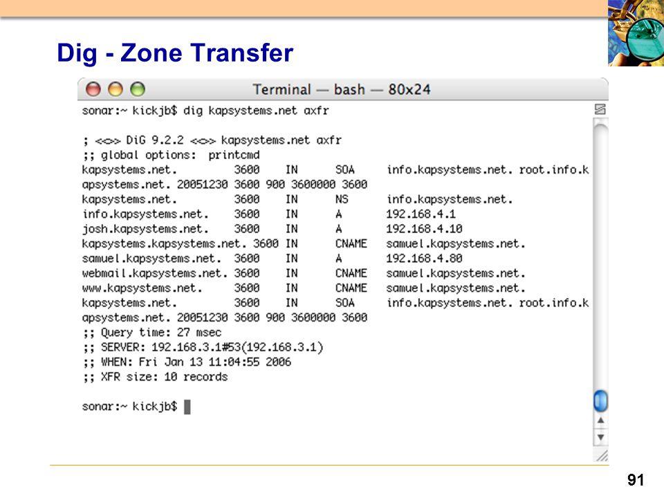91 Dig - Zone Transfer