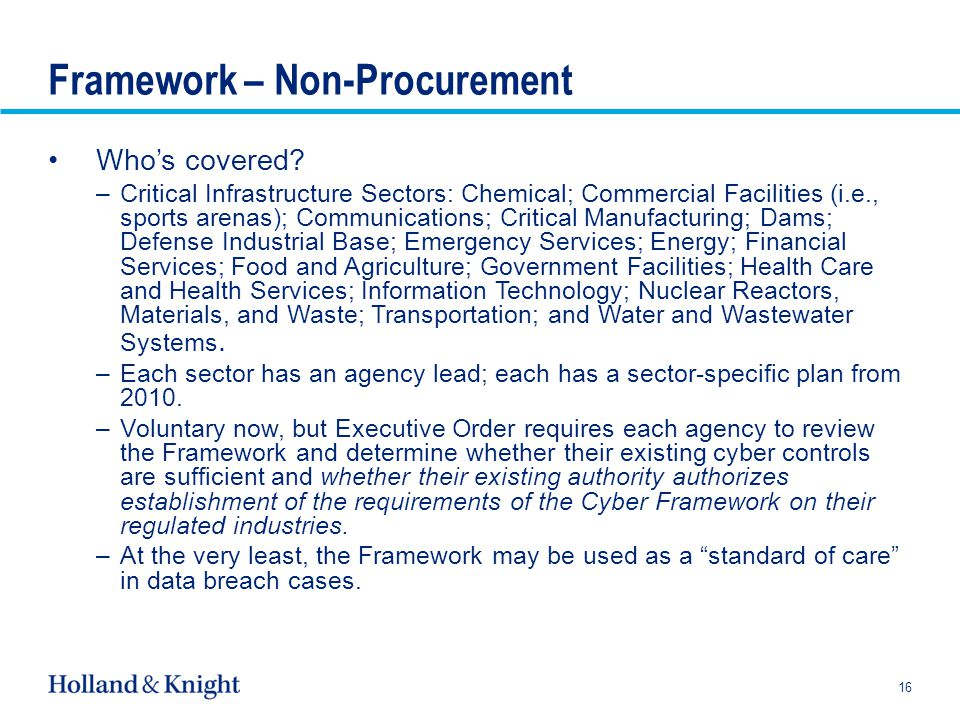 Framework – Non-Procurement Who's covered.