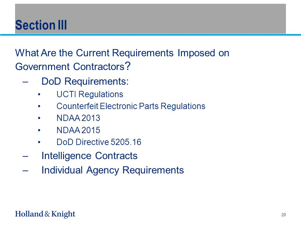 Section III What Are the Current Requirements Imposed on Government Contractors .
