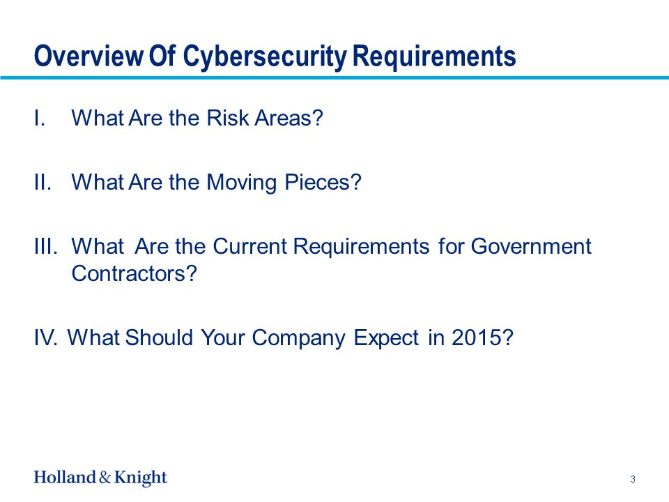 Overview Of Cybersecurity Requirements I.What Are the Risk Areas.