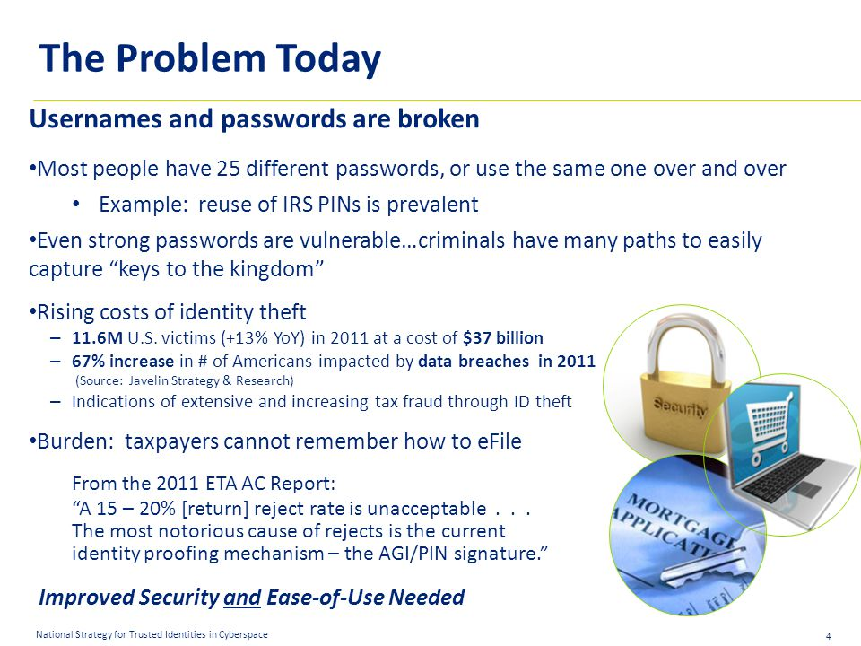 4 National Strategy for Trusted Identities in Cyberspace Usernames and passwords are broken Most people have 25 different passwords, or use the same one over and over Example: reuse of IRS PINs is prevalent Even strong passwords are vulnerable…criminals have many paths to easily capture keys to the kingdom Rising costs of identity theft – 11.6M U.S.