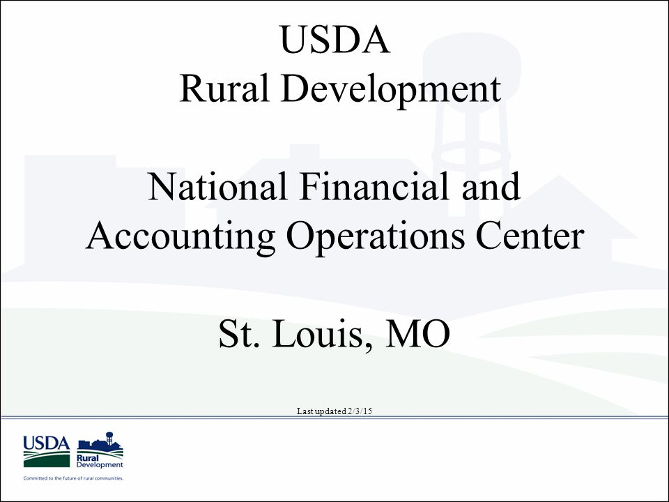 USDA Rural Development National Financial and Accounting Operations Center St.