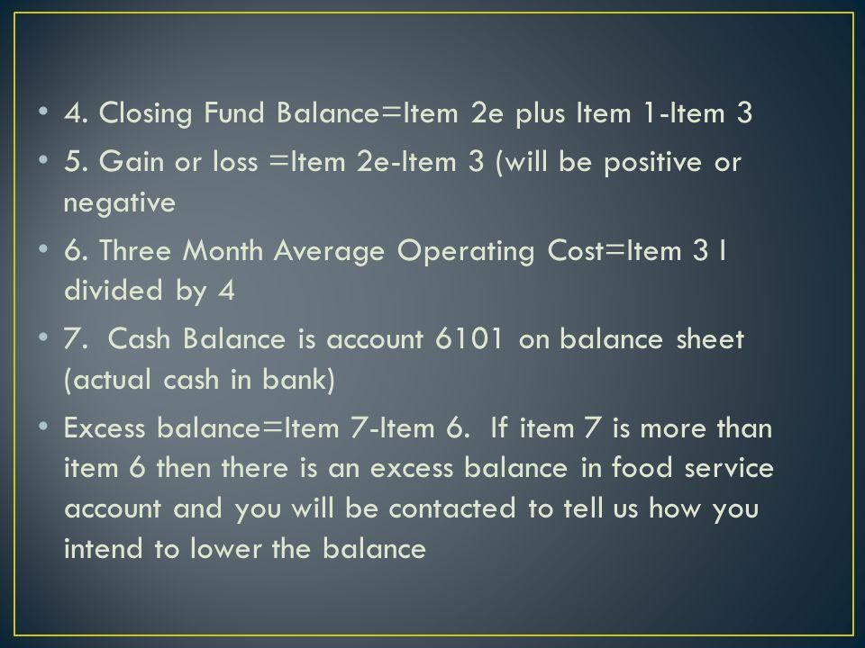 4. Closing Fund Balance=Item 2e plus Item 1-Item 3 5.