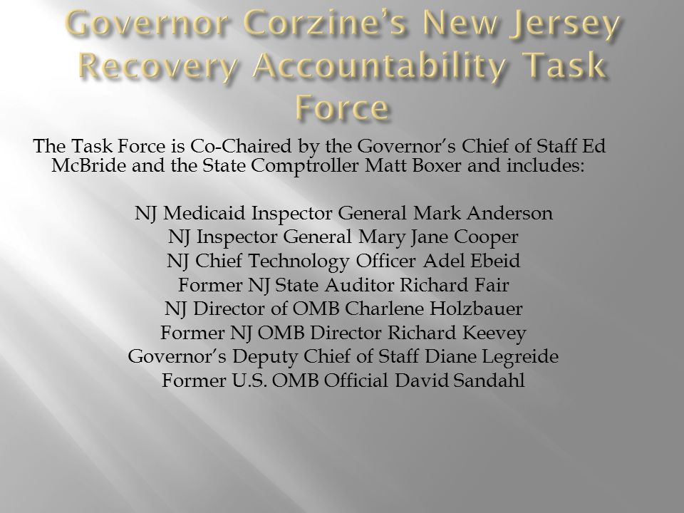 The mission of the New Jersey Recovery Accountability Task Force is to provide for transparency and accountability in the use of American Recovery and Reinvestment Act (ARRA) resources in our State.