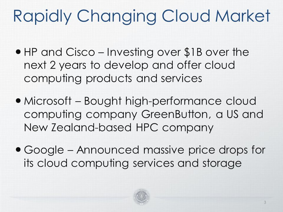 Cloud First Shift from Asset Ownership to Service Provisioning 4 Default to cloud-based solutions whenever a secure, reliable, cost-effective cloud option exists Continually evaluate cloud solutions across IT portfolios, regardless of investment type or lifecycle stage Agnostic on deployment model or service delivery type Address how cloud drives business/mission needs first