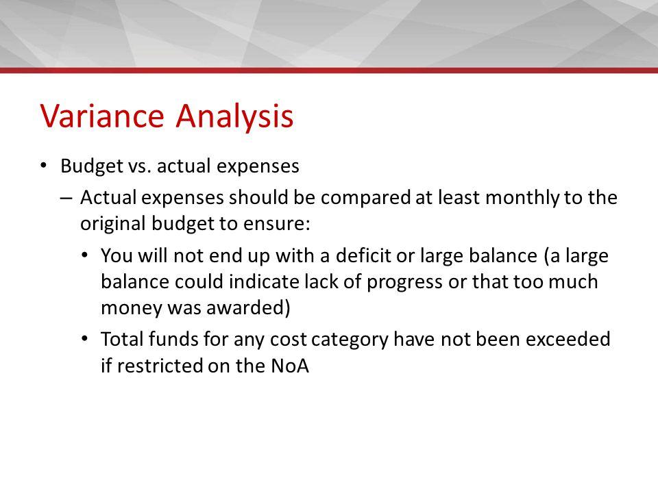 Variance Analysis Budget vs.
