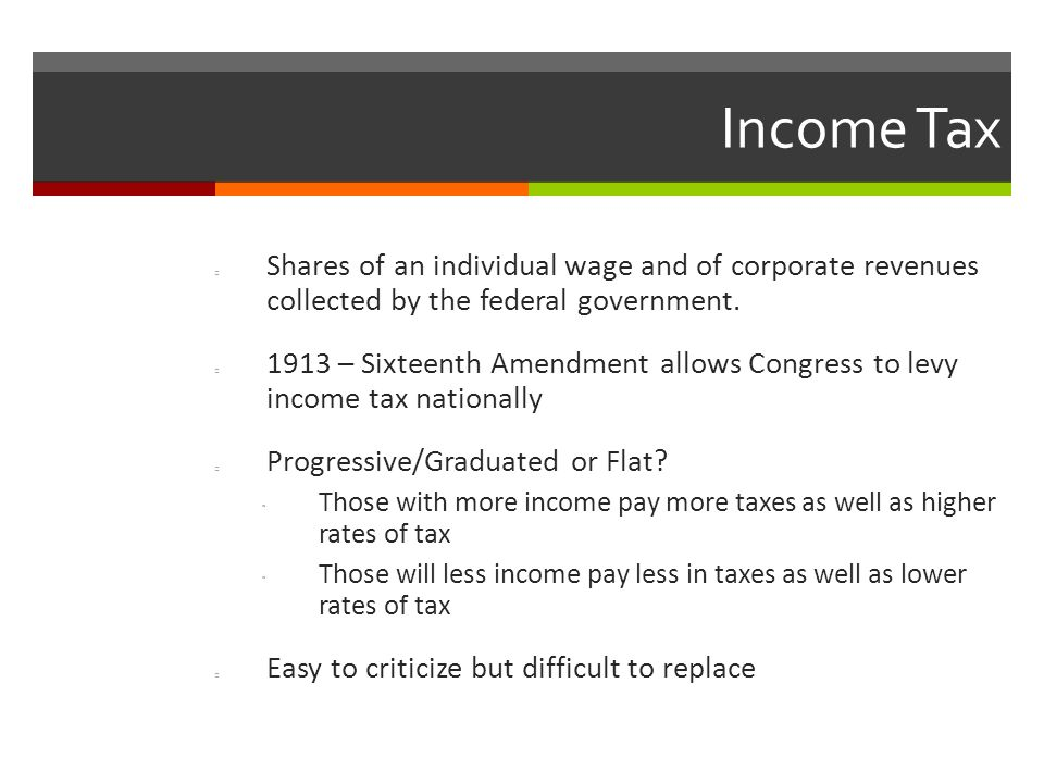 Income Tax Shares of an individual wage and of corporate revenues collected by the federal government.