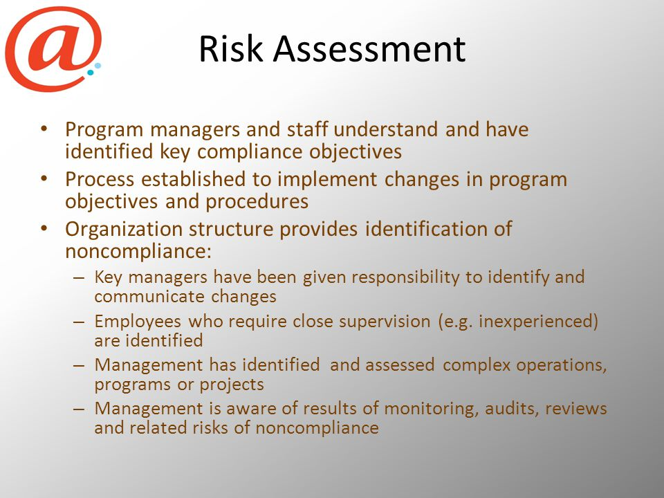 Risk Assessment Program managers and staff understand and have identified key compliance objectives Process established to implement changes in program objectives and procedures Organization structure provides identification of noncompliance: – Key managers have been given responsibility to identify and communicate changes – Employees who require close supervision (e.g.