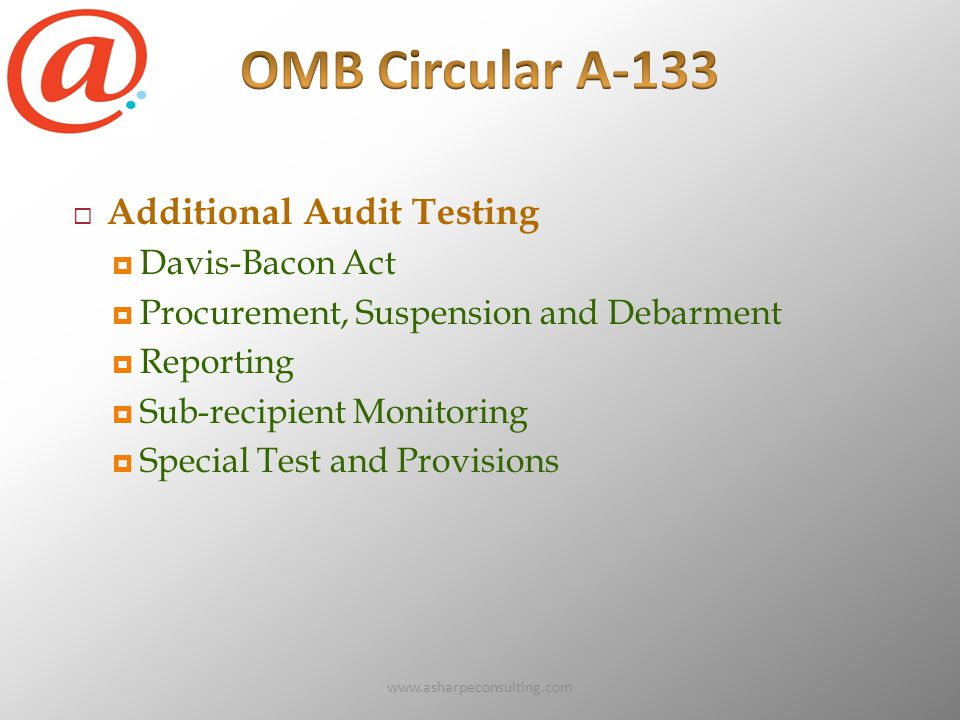 www.asharpeconsulting.com72  Additional Audit Testing  Davis-Bacon Act  Procurement, Suspension and Debarment  Reporting  Sub-recipient Monitoring  Special Test and Provisions