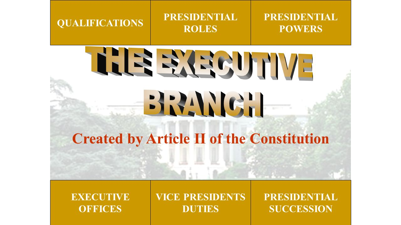 PRESIDENTIAL ROLES PRESIDENTIAL POWERS EXECUTIVE OFFICES PRESIDENTIAL SUCCESSION QUALIFICATIONS VICE PRESIDENTS DUTIES Created by Article II of the Co