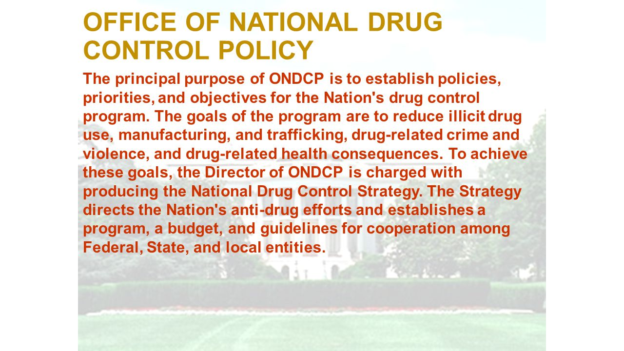 The principal purpose of ONDCP is to establish policies, priorities, and objectives for the Nation's drug control program. The goals of the program ar