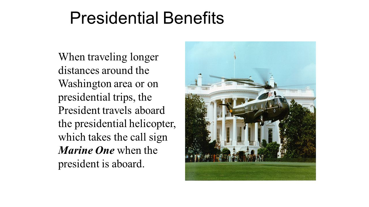 When traveling longer distances around the Washington area or on presidential trips, the President travels aboard the presidential helicopter, which t