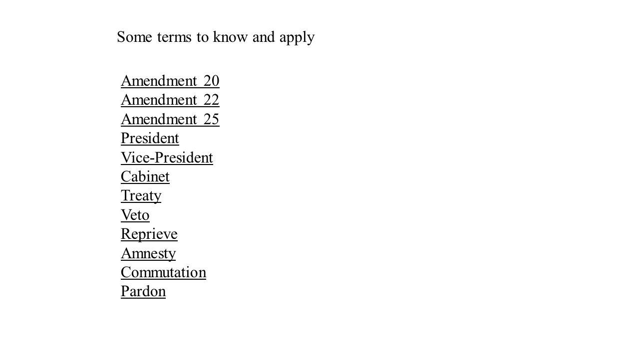 Amendment 20 Amendment 22 Amendment 25 President Vice-President Cabinet Treaty Veto Reprieve Amnesty Commutation Pardon Some terms to know and apply