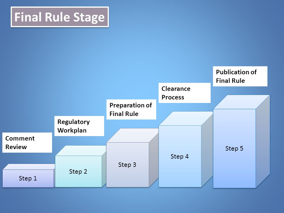Final Rule Stage Step 1 Step 2 Step 3 Step 4 Step 5 Comment Review Regulatory Workplan Preparation of Final Rule Publication of Final Rule Clearance P