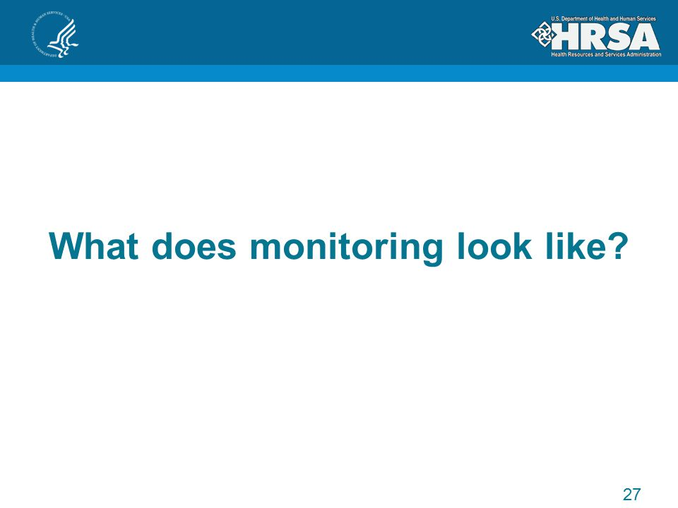 What does monitoring look like 27