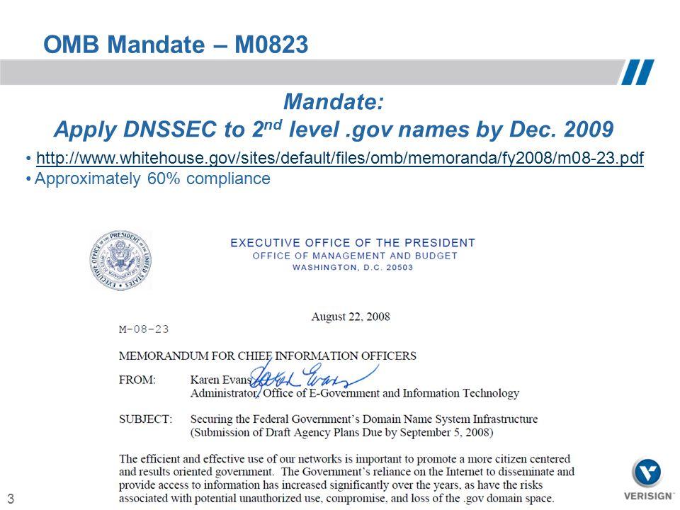 3 OMB Mandate – M0823 Mandate: Apply DNSSEC to 2 nd level.gov names by Dec. 2009 http://www.whitehouse.gov/sites/default/files/omb/memoranda/fy2008/m0