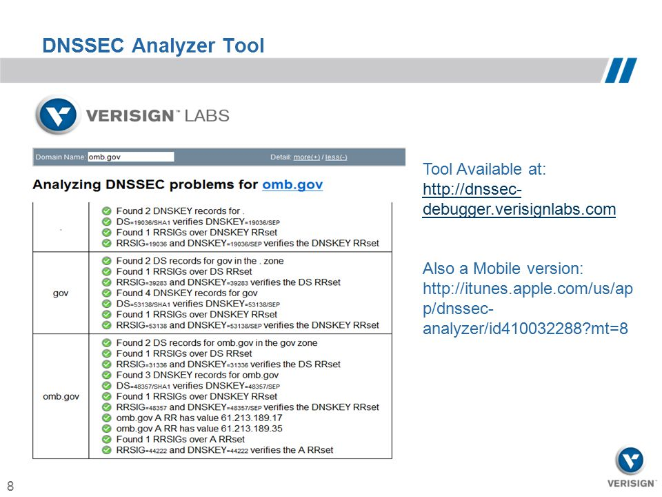 8 DNSSEC Analyzer Tool Tool Available at: http://dnssec- debugger.verisignlabs.com Also a Mobile version: http://itunes.apple.com/us/ap p/dnssec- anal