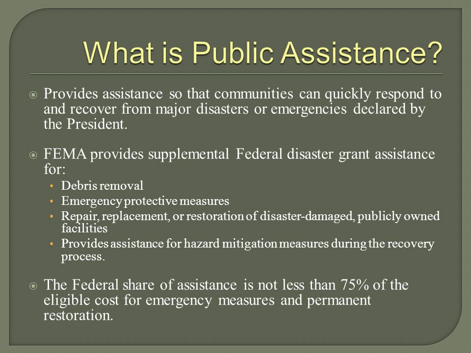  Provides assistance so that communities can quickly respond to and recover from major disasters or emergencies declared by the President.