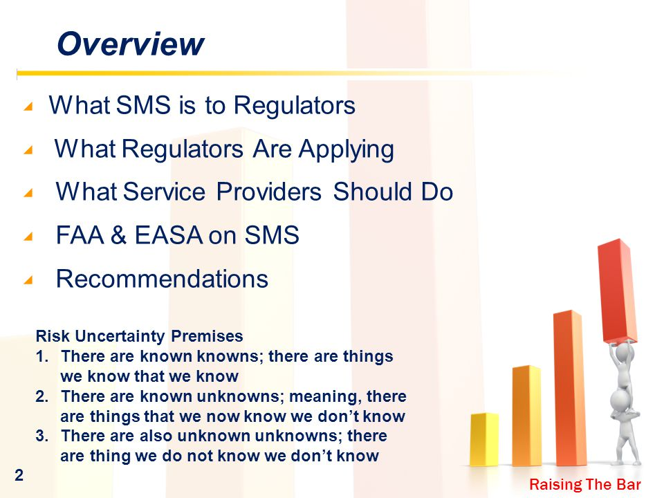 Raising The Bar 2 Overview ◢ What SMS is to Regulators ◢ What Regulators Are Applying ◢ What Service Providers Should Do ◢ FAA & EASA on SMS ◢ Recommendations Risk Uncertainty Premises 1.There are known knowns; there are things we know that we know 2.There are known unknowns; meaning, there are things that we now know we don't know 3.There are also unknown unknowns; there are thing we do not know we don't know