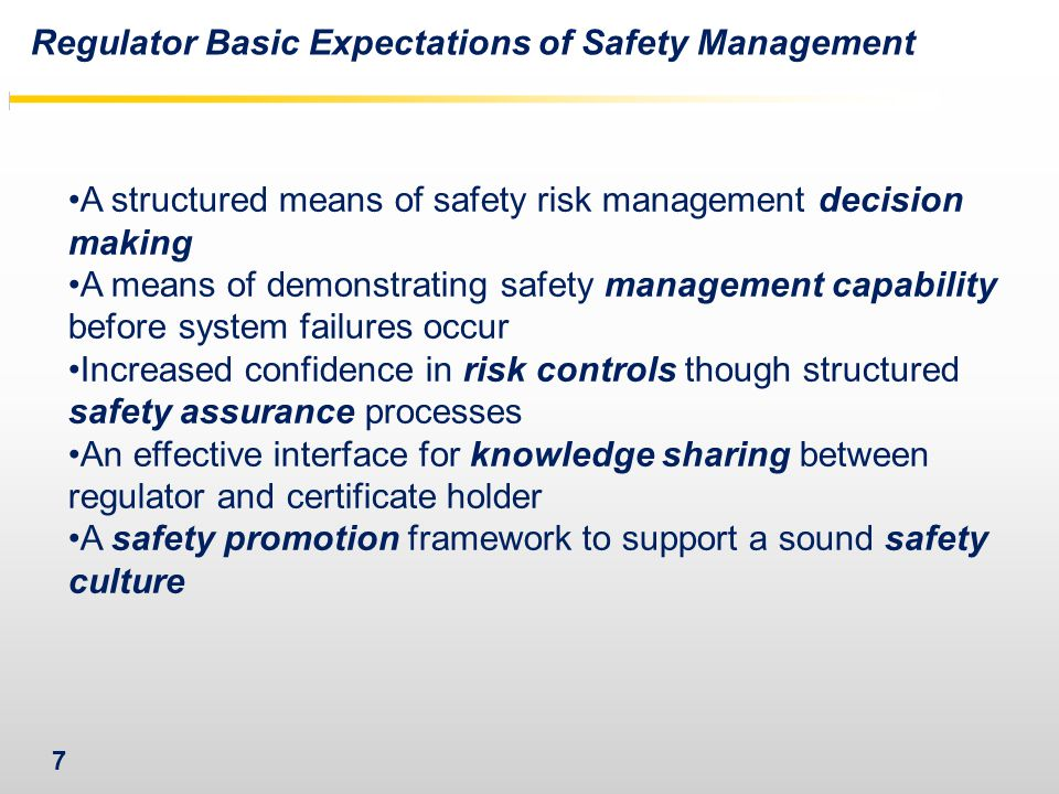 7 A structured means of safety risk management decision making A means of demonstrating safety management capability before system failures occur Increased confidence in risk controls though structured safety assurance processes An effective interface for knowledge sharing between regulator and certificate holder A safety promotion framework to support a sound safety culture Regulator Basic Expectations of Safety Management