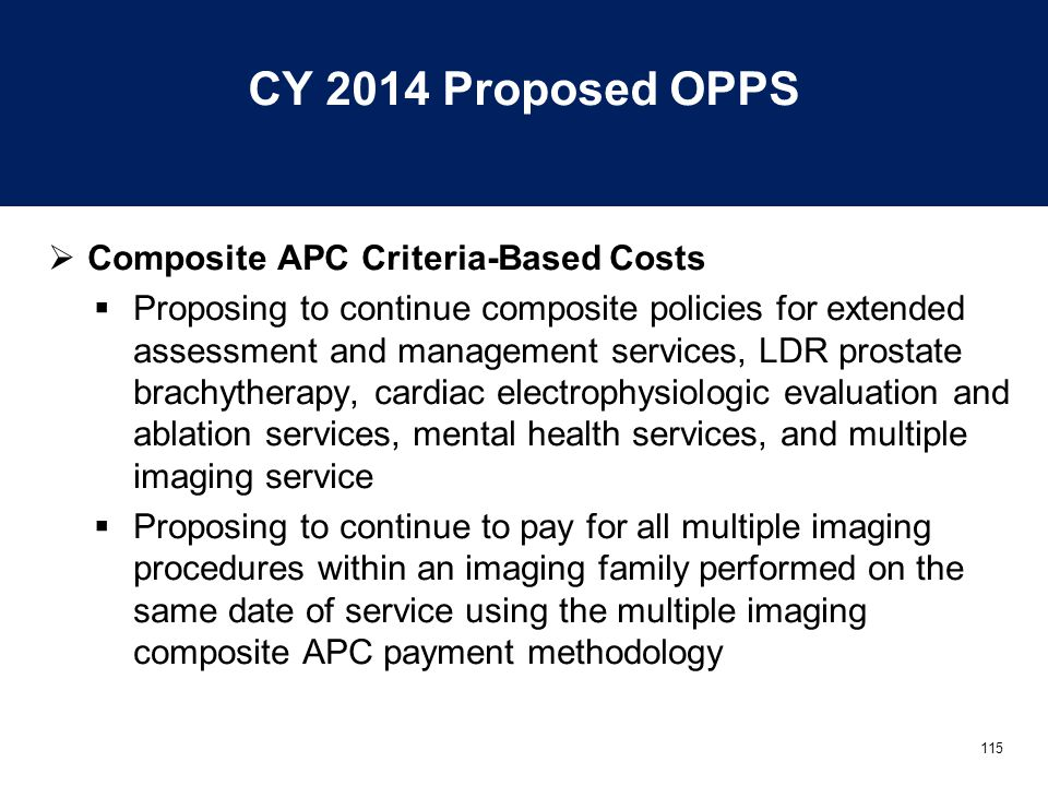 115 CY 2014 Proposed OPPS  Composite APC Criteria-Based Costs  Proposing to continue composite policies for extended assessment and management services, LDR prostate brachytherapy, cardiac electrophysiologic evaluation and ablation services, mental health services, and multiple imaging service  Proposing to continue to pay for all multiple imaging procedures within an imaging family performed on the same date of service using the multiple imaging composite APC payment methodology