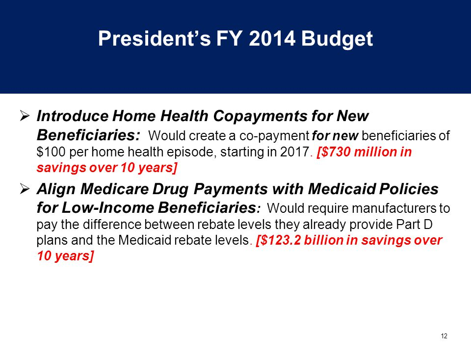 12 President's FY 2014 Budget  Introduce Home Health Copayments for New Beneficiaries: Would create a co-payment for new beneficiaries of $100 per home health episode, starting in 2017.