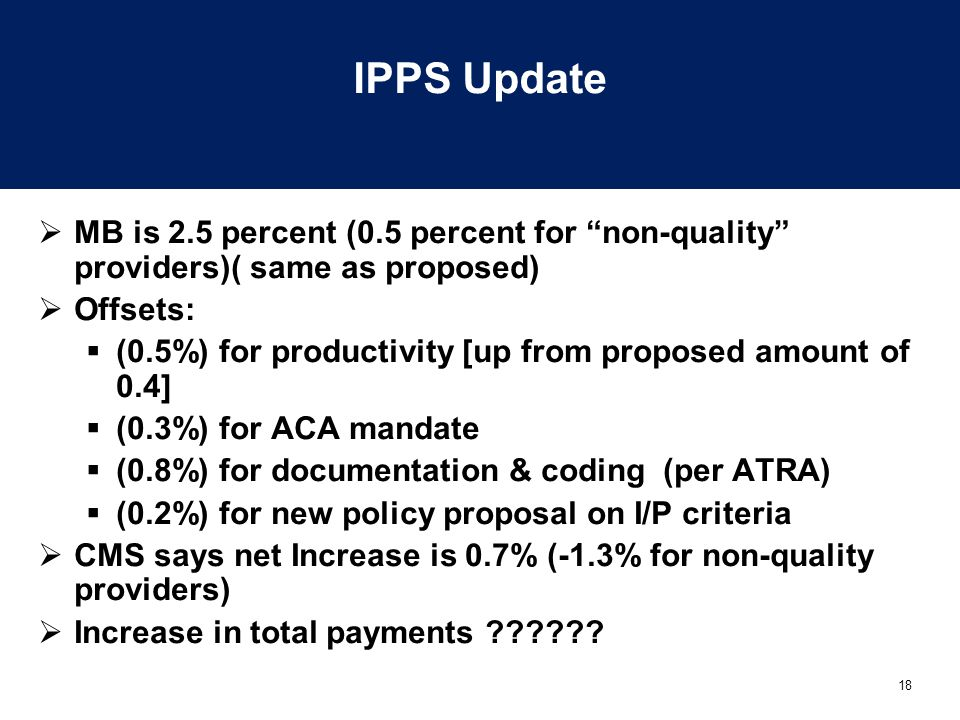 18 IPPS Update  MB is 2.5 percent (0.5 percent for non-quality providers)( same as proposed)  Offsets:  (0.5%) for productivity [up from proposed amount of 0.4]  (0.3%) for ACA mandate  (0.8%) for documentation & coding (per ATRA)  (0.2%) for new policy proposal on I/P criteria  CMS says net Increase is 0.7% (-1.3% for non-quality providers)  Increase in total payments