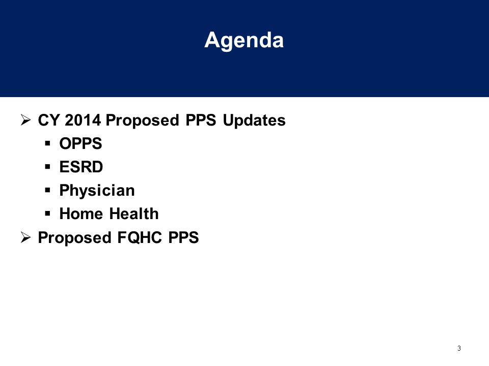 3 Agenda  CY 2014 Proposed PPS Updates  OPPS  ESRD  Physician  Home Health  Proposed FQHC PPS